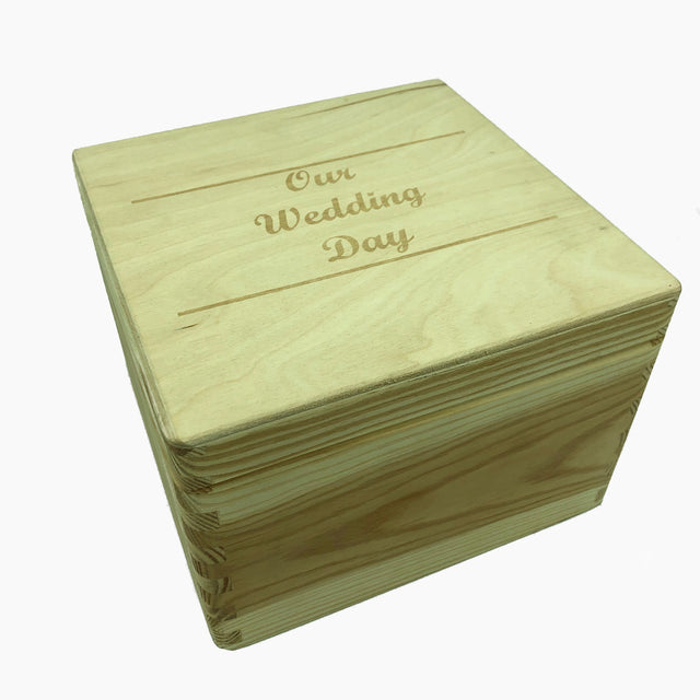 Personalised wooden keepsake memory box - medium