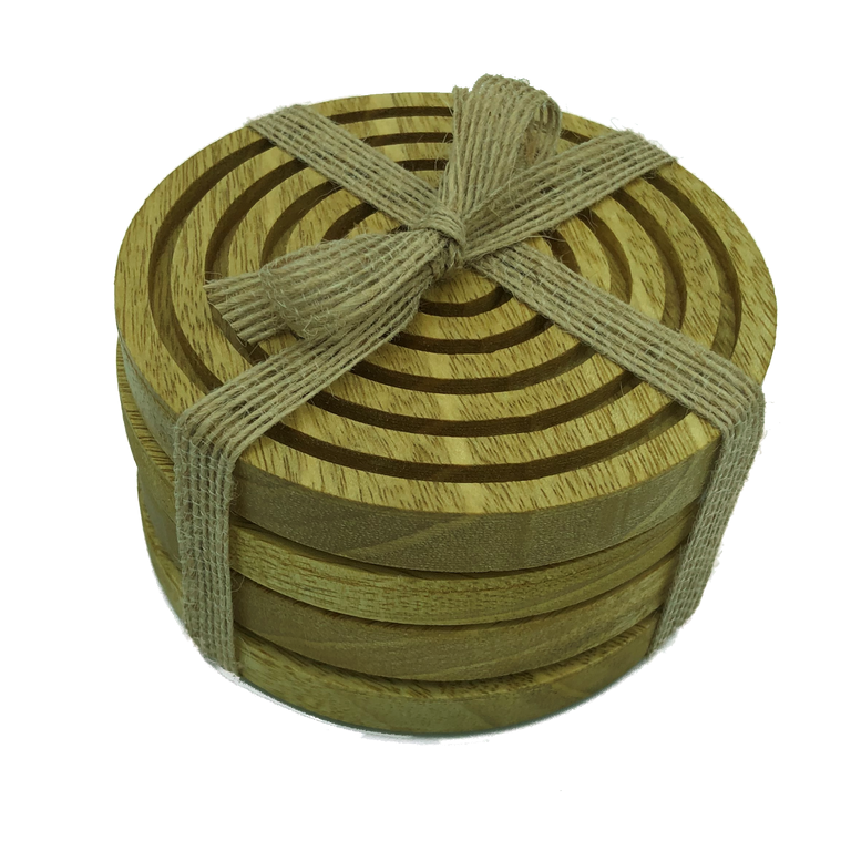 Solid idigbo wooden coasters - packaged with hessian ribbon