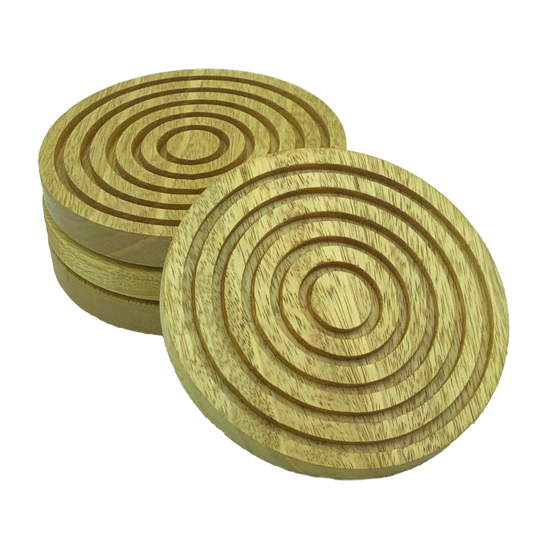 Solid idigbo wooden coasters - set of 4