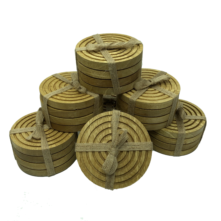 Solid idigbo wooden coasters - stack of 6 sets