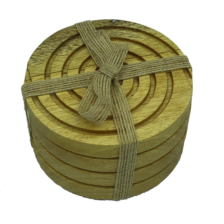 Solid idigbo hardwood round wooden coasters - packaged with hessian ribbon