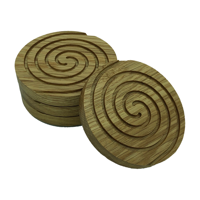Solid oak round wooden coasters - set of four