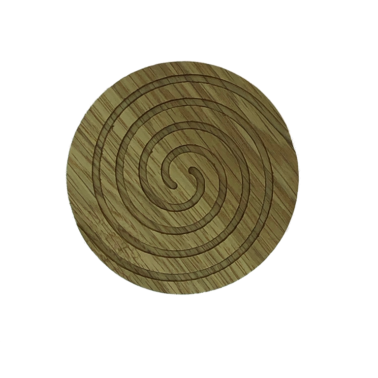 Solid oak round wooden coasters - spiral cut into the top
