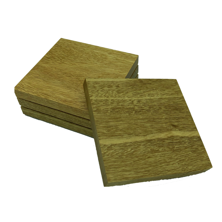 Square wooden idigbo coasters - set of four