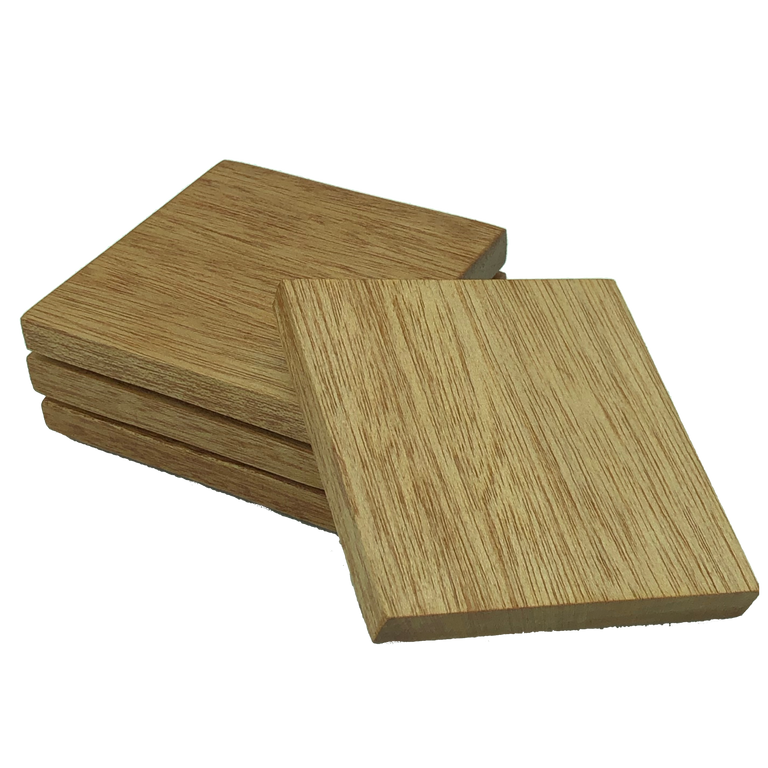 Square wooden meranti coasters - set of four
