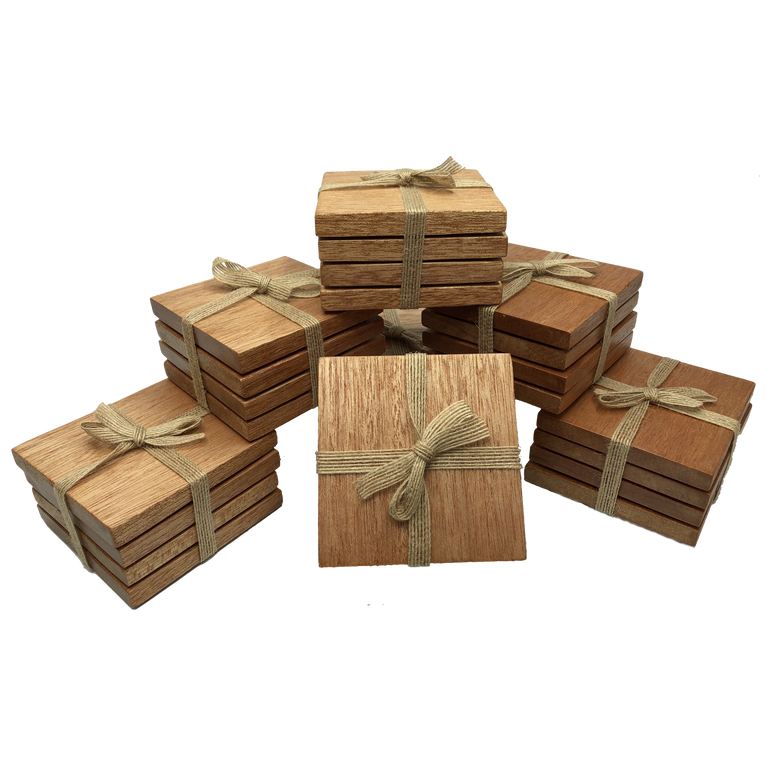 Square wooden meranti coasters - packaged with hessian ribbon
