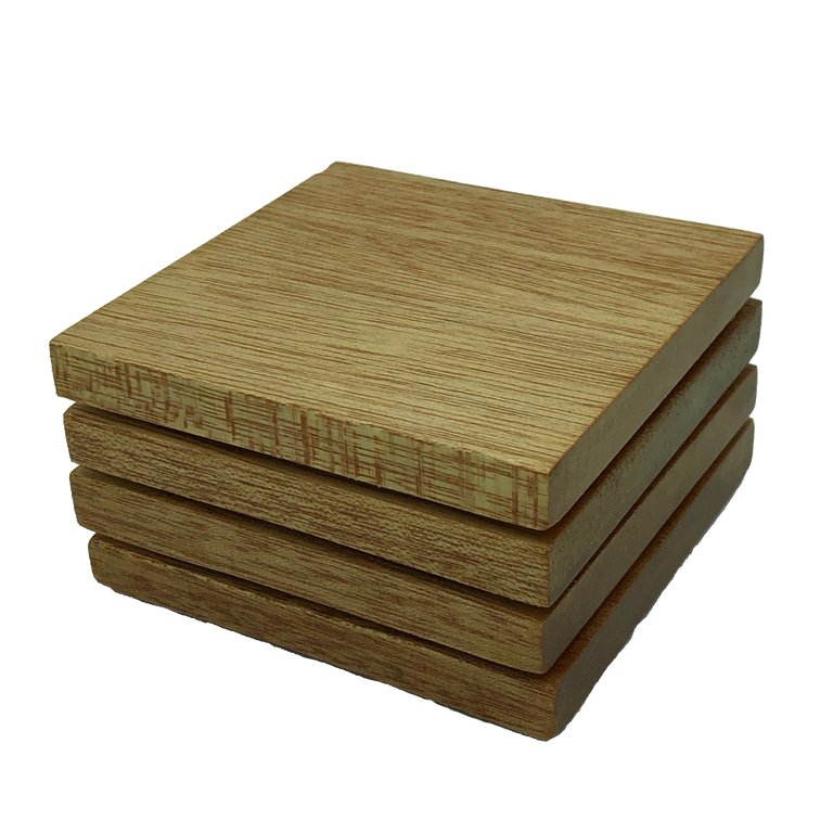 Square wooden meranti coasters - stack of four