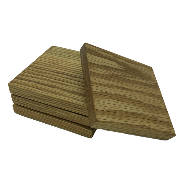 Handmade square wooden oak coasters - set of four