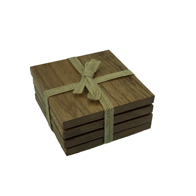 Handmade square wooden oak coasters - packaged with hessian ribbon