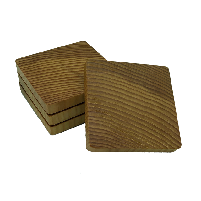 Square wooden douglas fir coasters - set of four