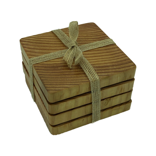 Square wooden douglas fir coasters - packaged with hessian ribbon
