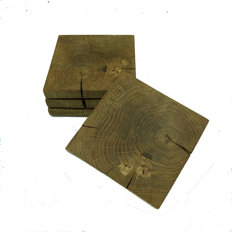 Square wooden rustic oak coasters - set of four