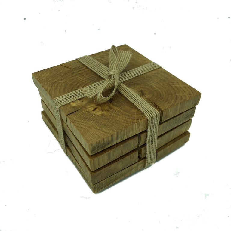 Square wooden rustic oak coasters - packaged with hessian ribbon