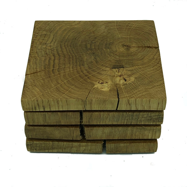 Square wooden rustic oak coasters - stack of four