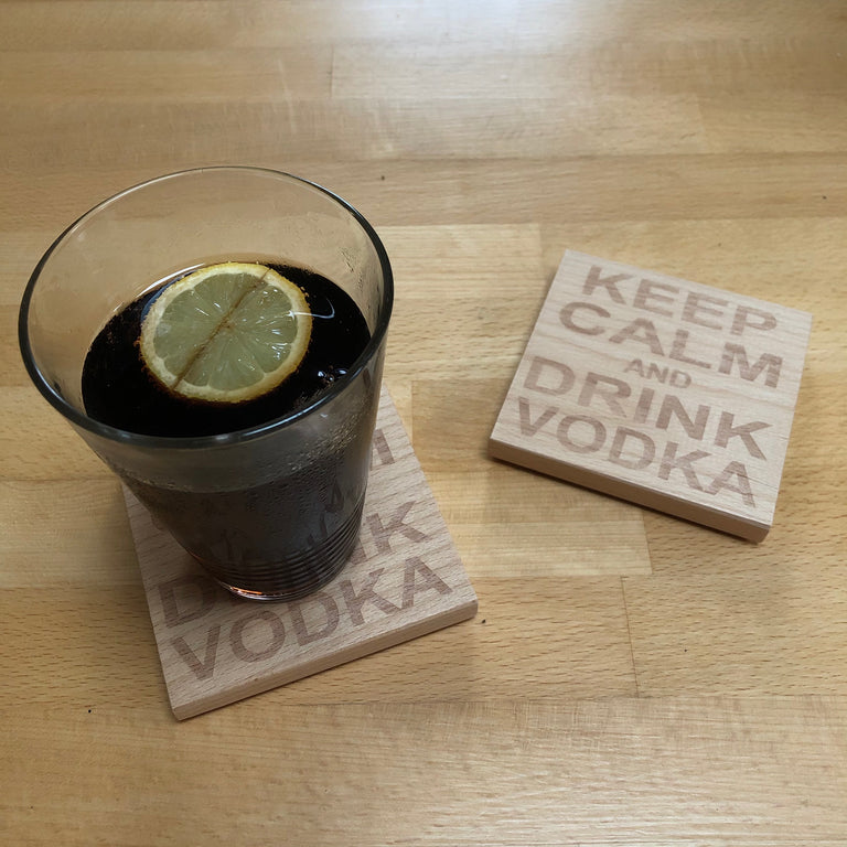 Wooden coaster - keep calm and drink vodka