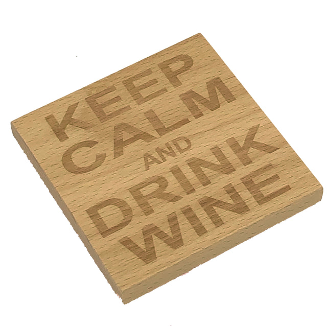Wooden coaster - keep calm and drink wine