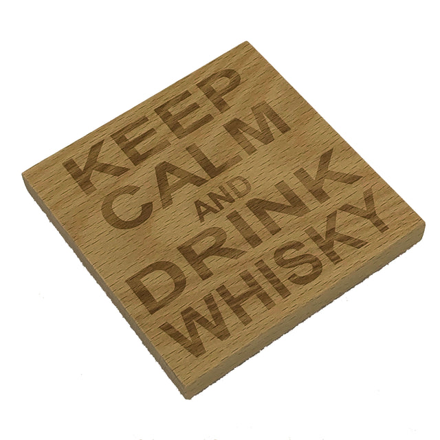 Wooden coaster - keep calm and drink whisky