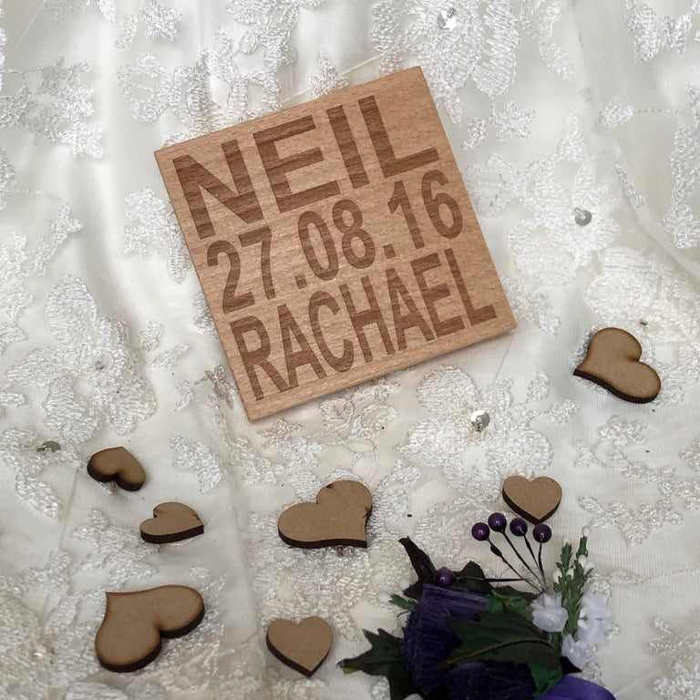 Wooden coaster - personalised wedding
