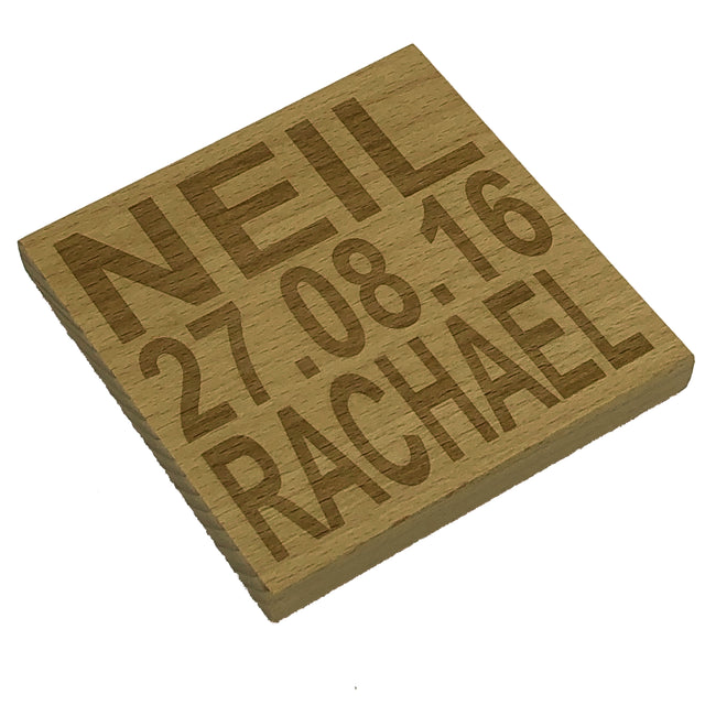 Personalised wedding coaster - names and date