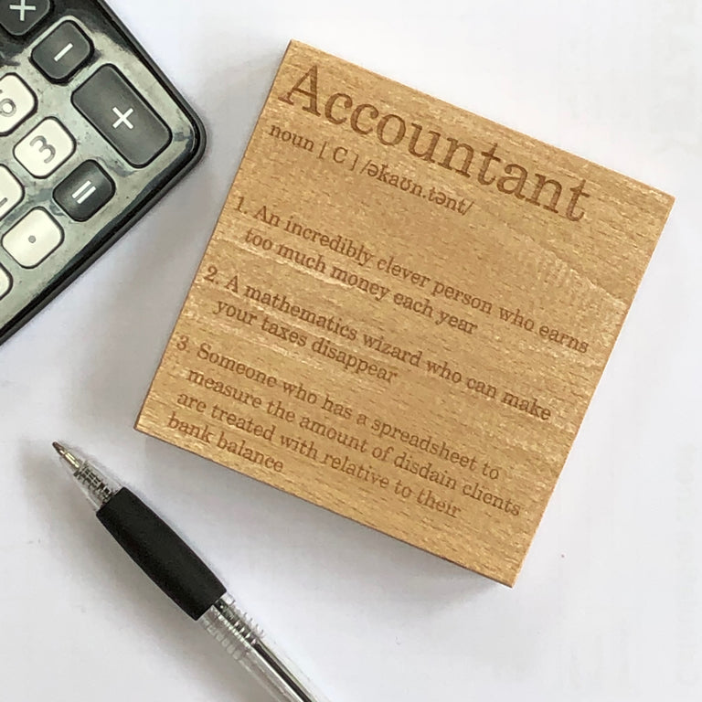 Wooden coaster - occupation - accountant