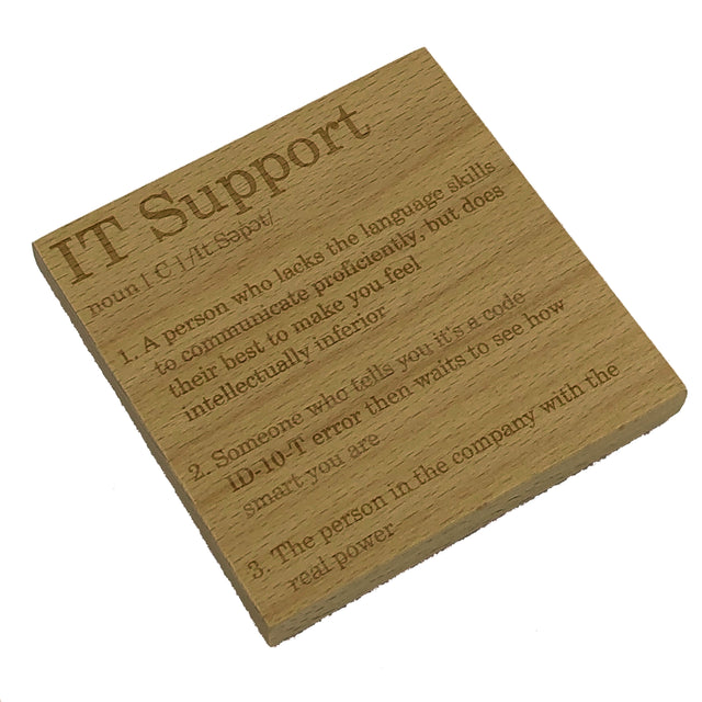 Wooden coaster - occupation - IT support