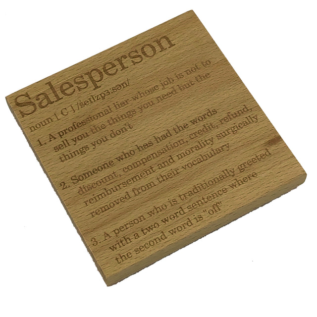 Wooden coaster - occupation - salesperson