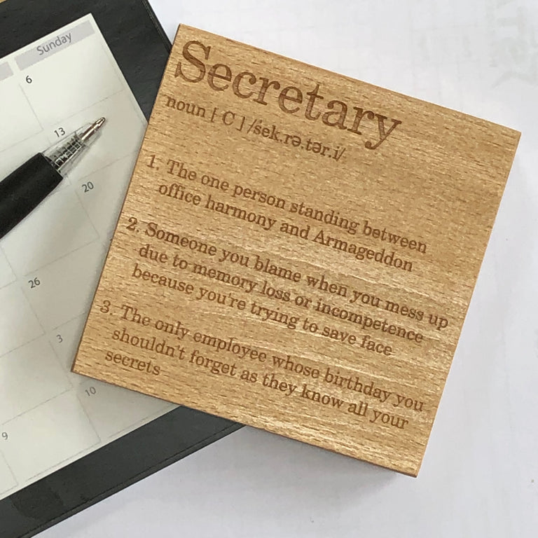 Wooden coaster - occupation - secretary