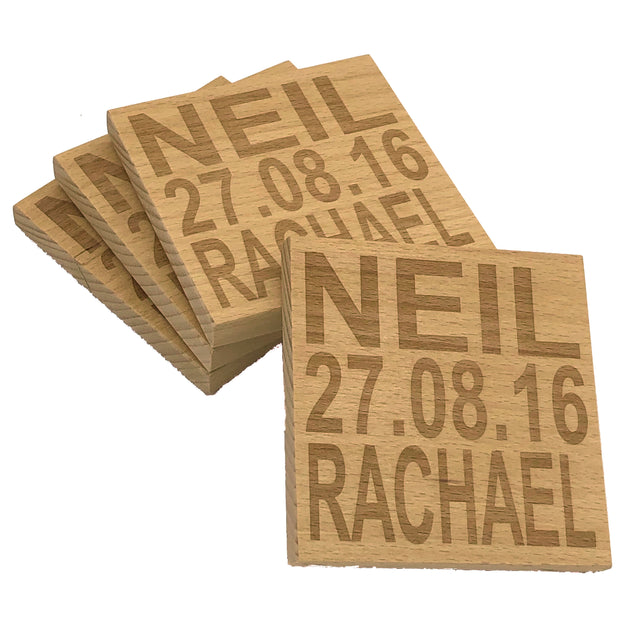 Personalised wooden coaster - set of 4