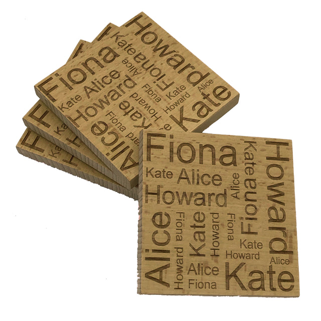 Personalised word map coasters