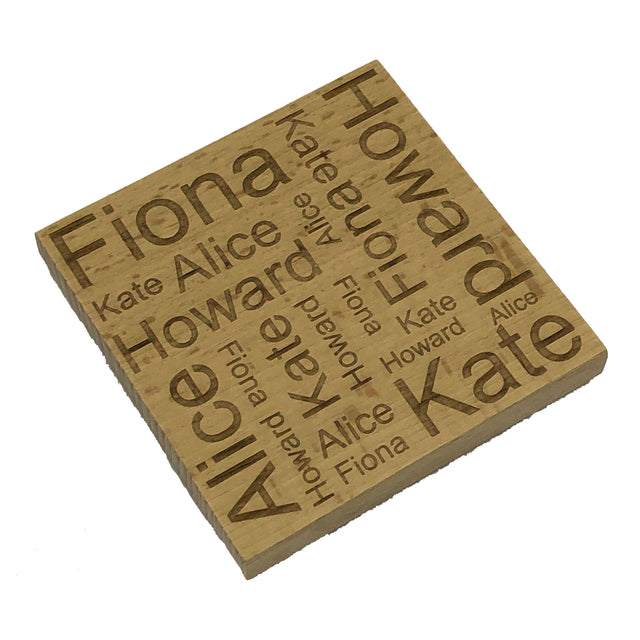 Personalised word map coaster