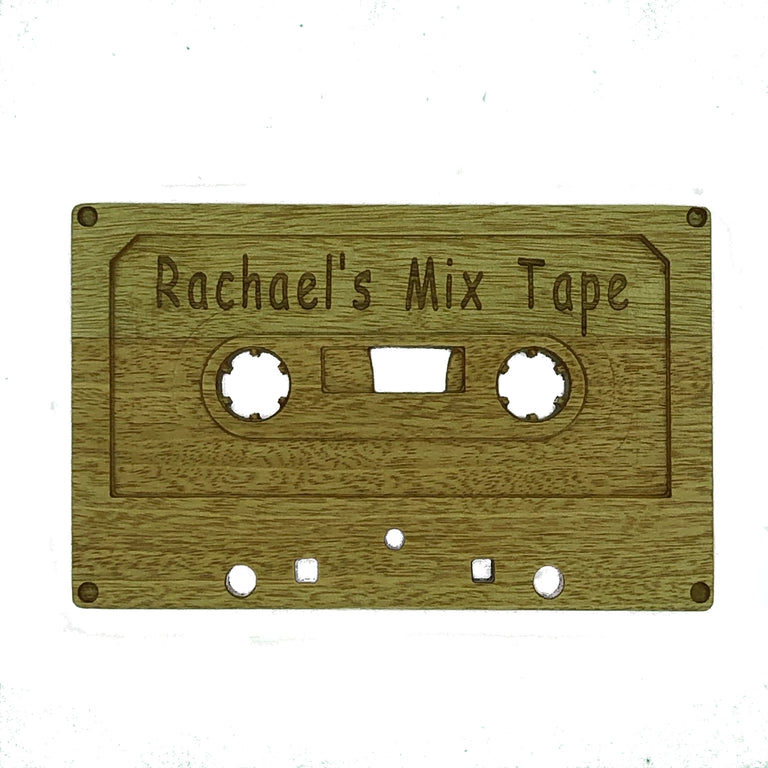 Wooden cassette - personalised - Rachael's mix tape