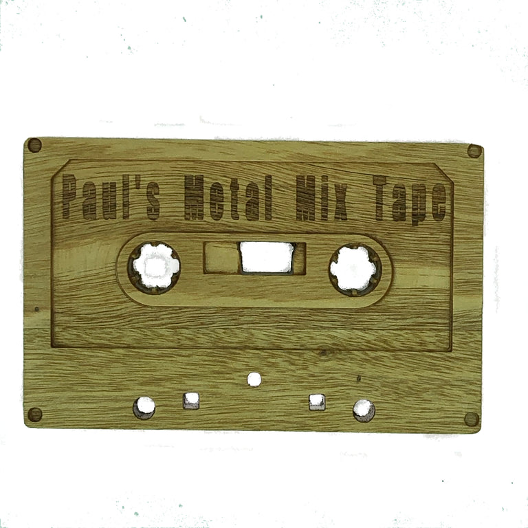 Wooden cassette - personalised - Paul's metal mix tape