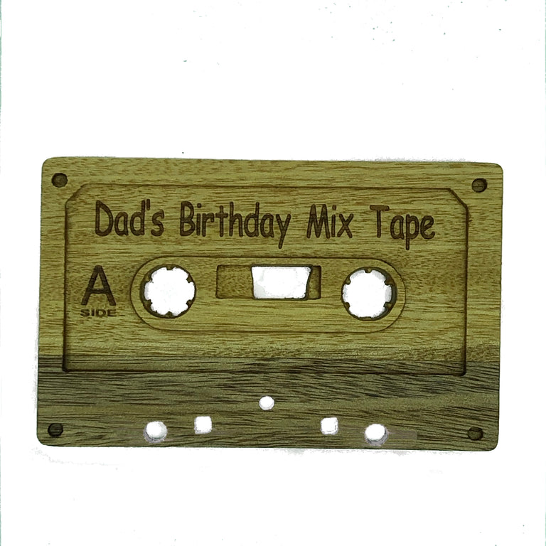 Wooden cassette - Dad's birthday mix tape