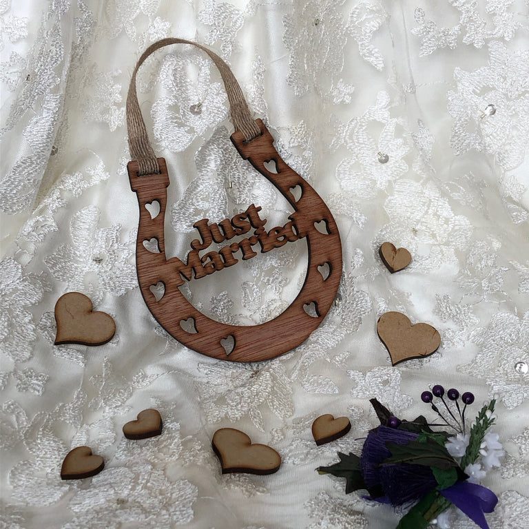 Wooden horseshoe - wedding - just married