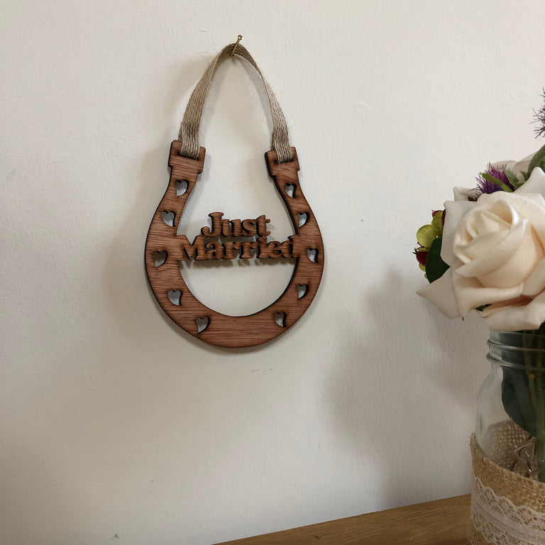 Wooden horseshoe - wedding - just married - hanging