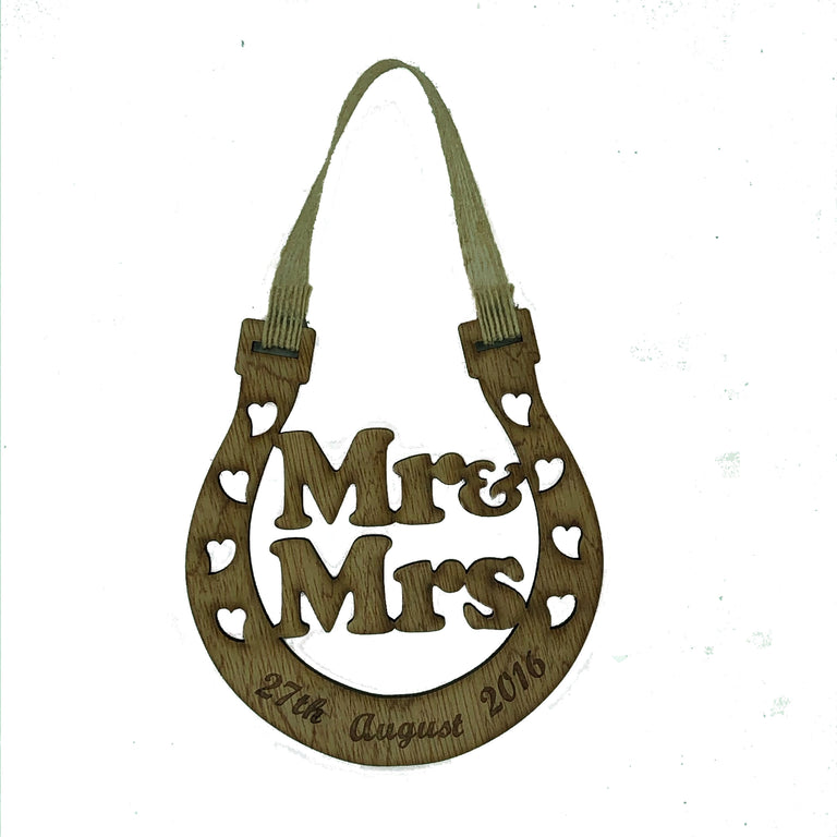 Lucky wedding horseshoe gift - Mr & Mrs - personalised