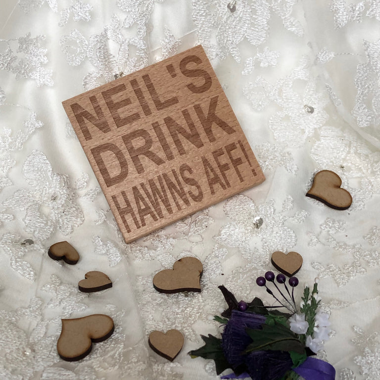 Wooden coaster - personalised hawns aff