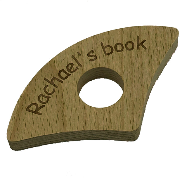 Personalised wooden book holder