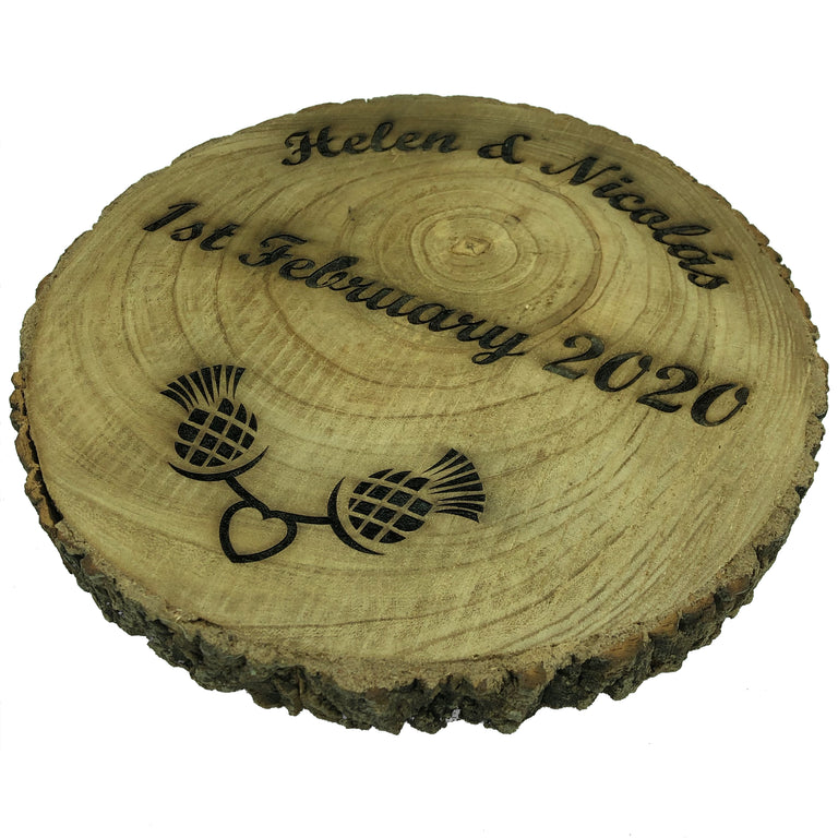 Personalised wedding gift - rustic wooden platter - water varnished - side view
