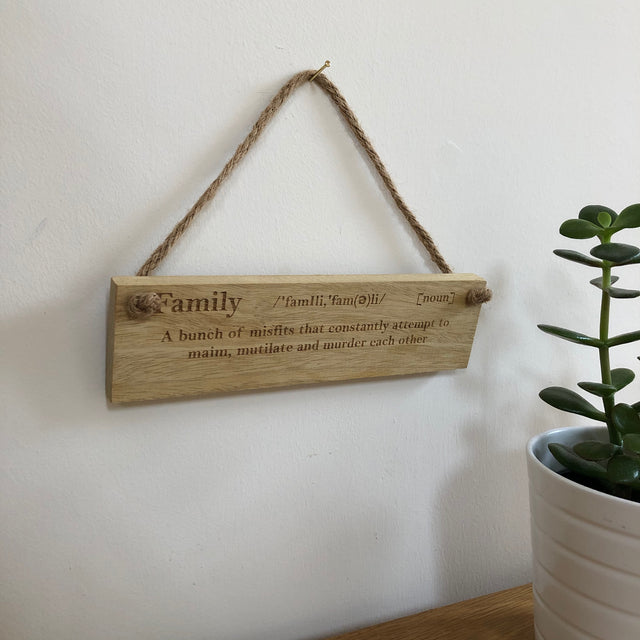 Wooden hanging plaque - family definition - misfits - hanging