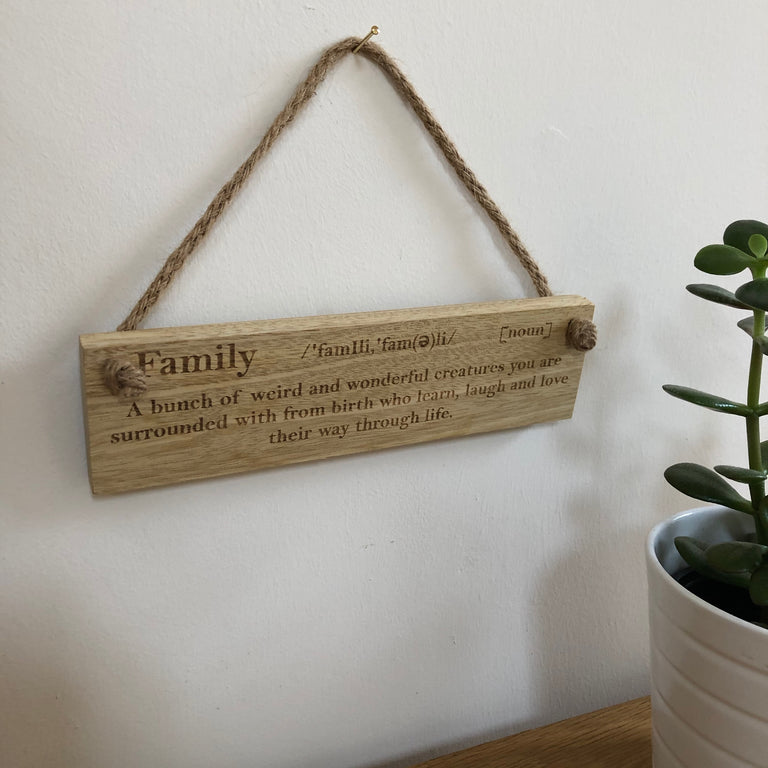 Wooden hanging plaque - family definition - wonderful creatures - hanging