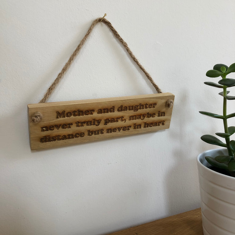 Wooden hanging plaque - mother and daughter never truly part - hanging
