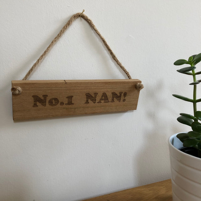 Wooden hanging plaque - No. 1 Nan - hanging