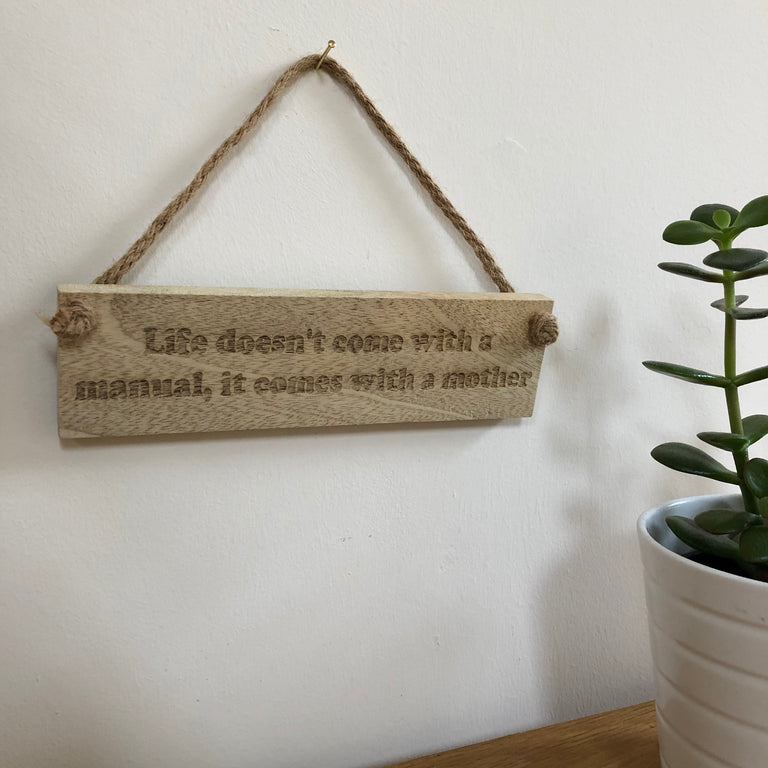 Wooden hanging plaque - life manual - hanging