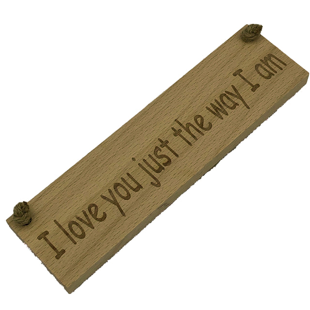 Wooden hanging plaque - I love you just the way I am