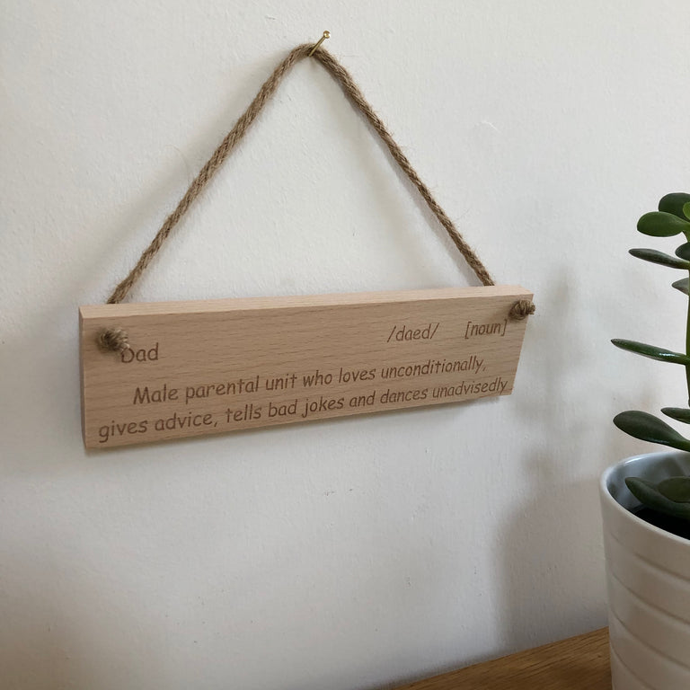 Wooden hanging plaque - definition of dad - hanging