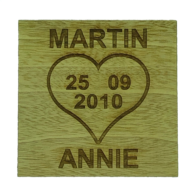 Personalised coaster - love heart anniversary