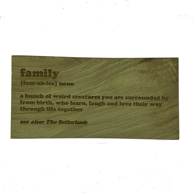 Personalised plaque - family