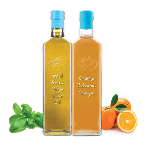Basil Extra Virgin Olive Oil & Orange Balsamic Vinegar Marasca Set
