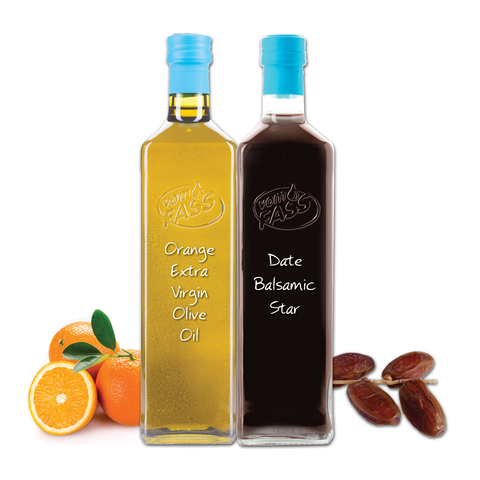 Orange Extra Virgin Olive Oil & Date Balsamic Star Marasca Set